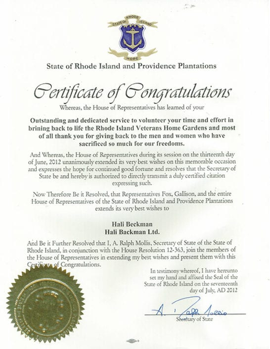 RI Veterans Home Citation