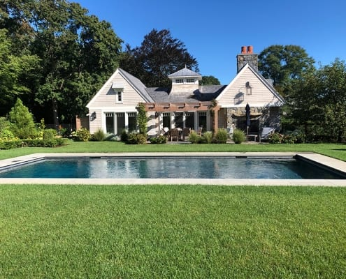 "Formal classically designed gardens, a pool centered on the pool house and a beautiful designed structure provides an immediate ""old world"" look. This was installed the summer of 2018."